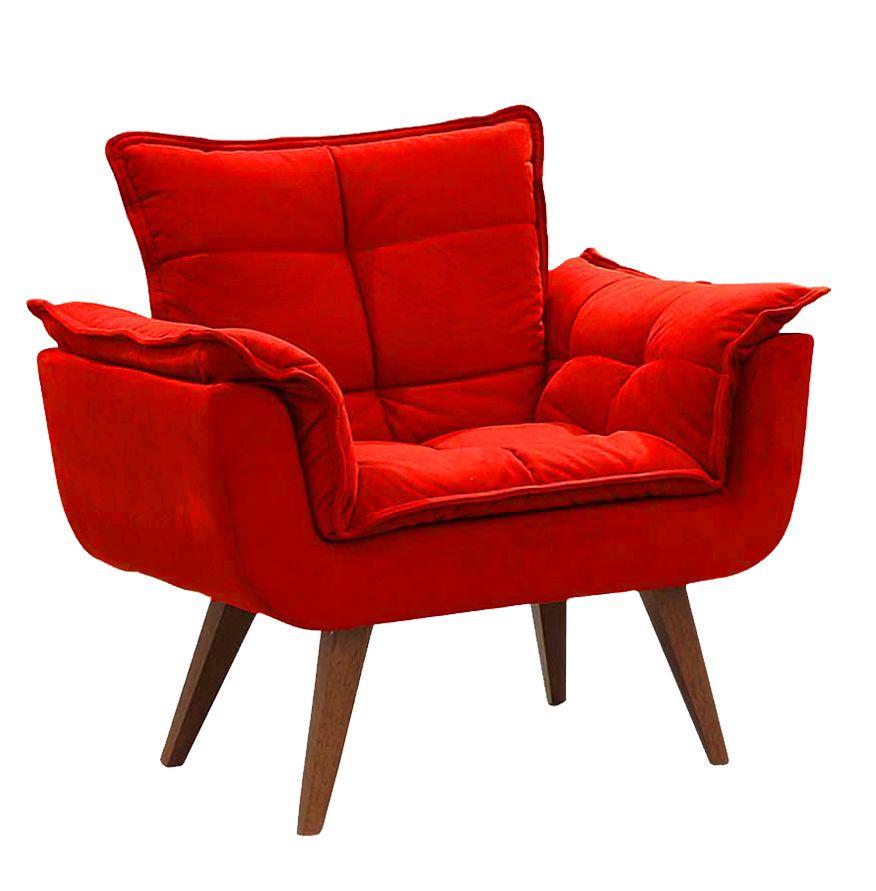 Poltrona Decorativa Opalla Sued Vermelho