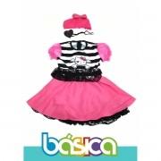 Fantasia de Pirata Hello Kitty Infantil Preto com Rosa, Bandana e Tapa Olho