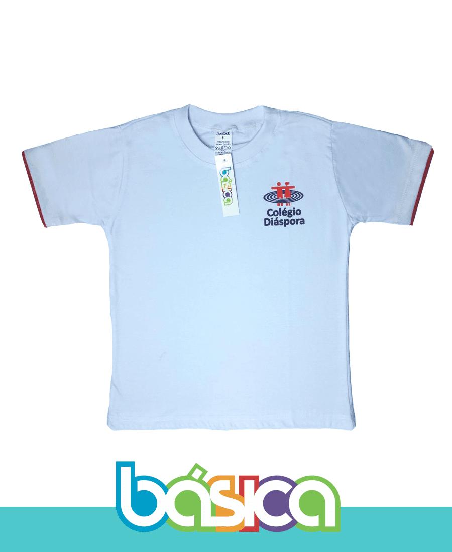 Camiseta Manga Curta Branca - Colégio Diáspora  - BÁSICA UNIFORMES