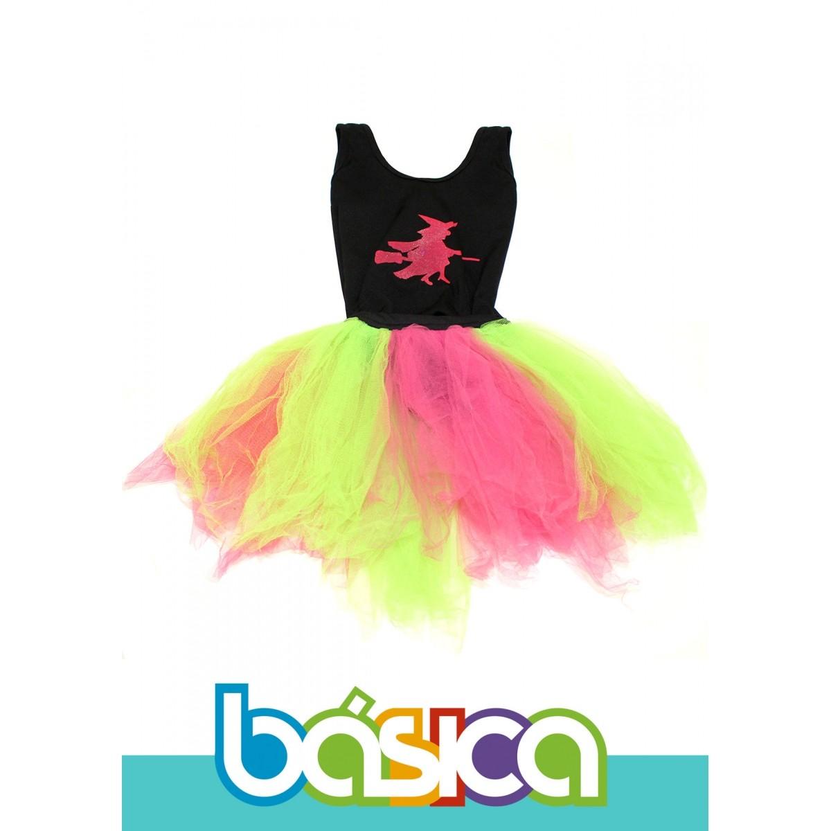Fantasia de Bruxa Infantil com Tule Colorido  - BÁSICA UNIFORMES