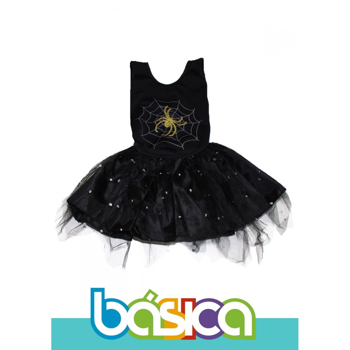 Fantasia de Bruxa Infantil com Tule Preto  - BÁSICA UNIFORMES