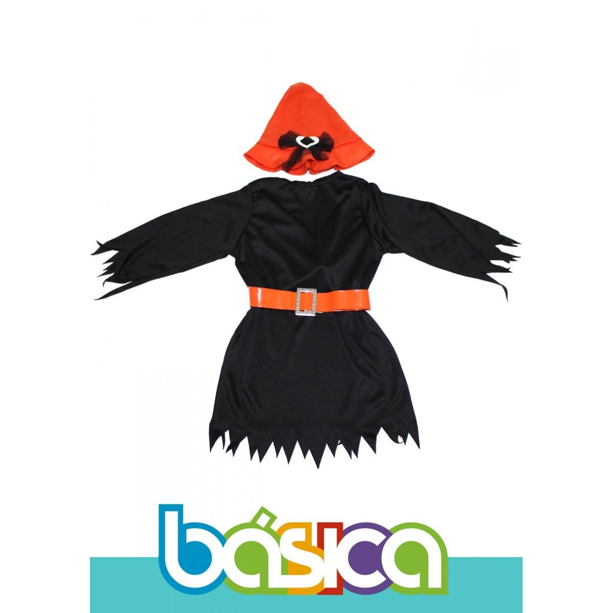 Fantasia de Bruxa Infantil Preto com Laranja  e Chapéu de Bruxa  - BÁSICA UNIFORMES