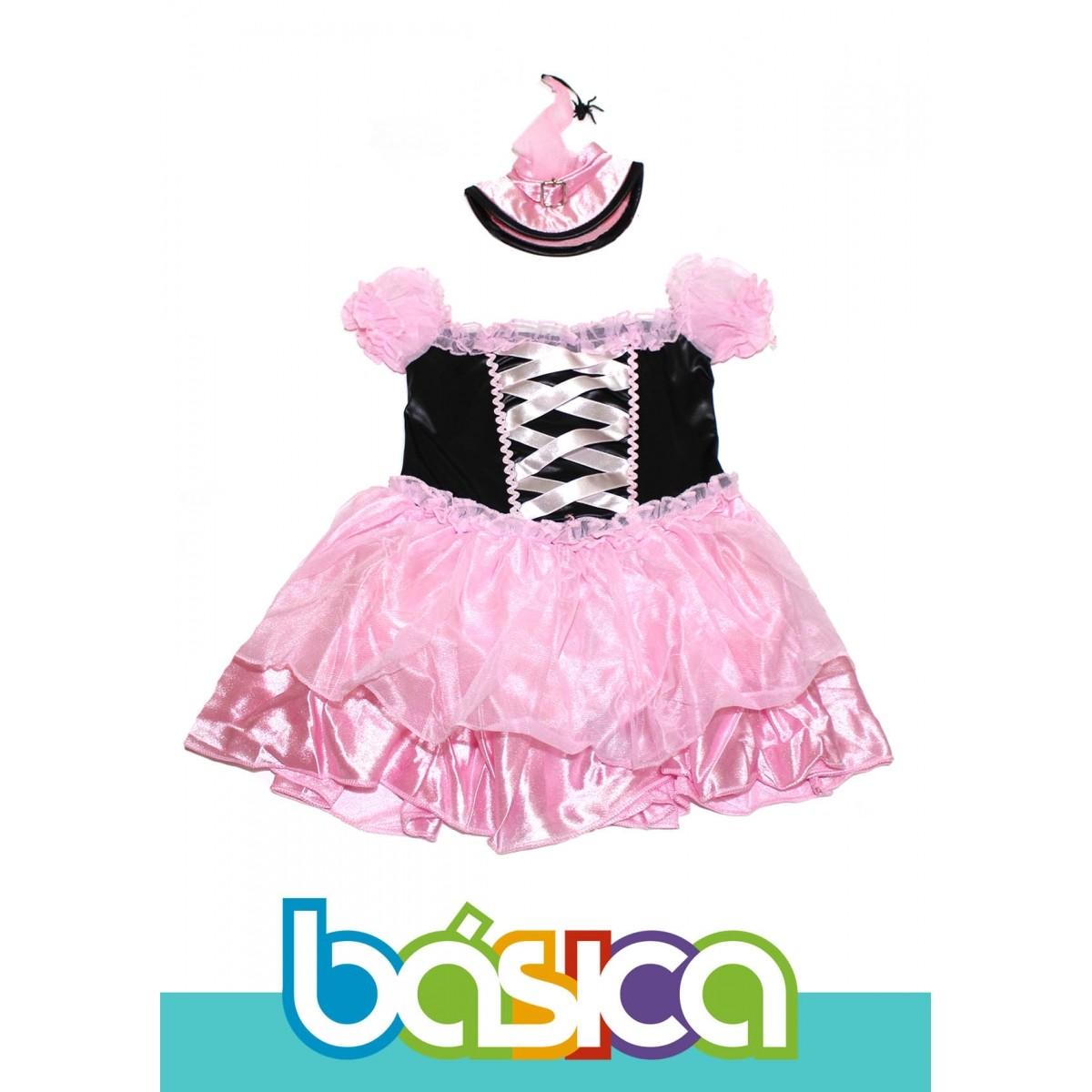 Fantasia de Bruxa Infantil Preto com Rosa Com Chapéu de Bruxa Deluxe  - BÁSICA UNIFORMES