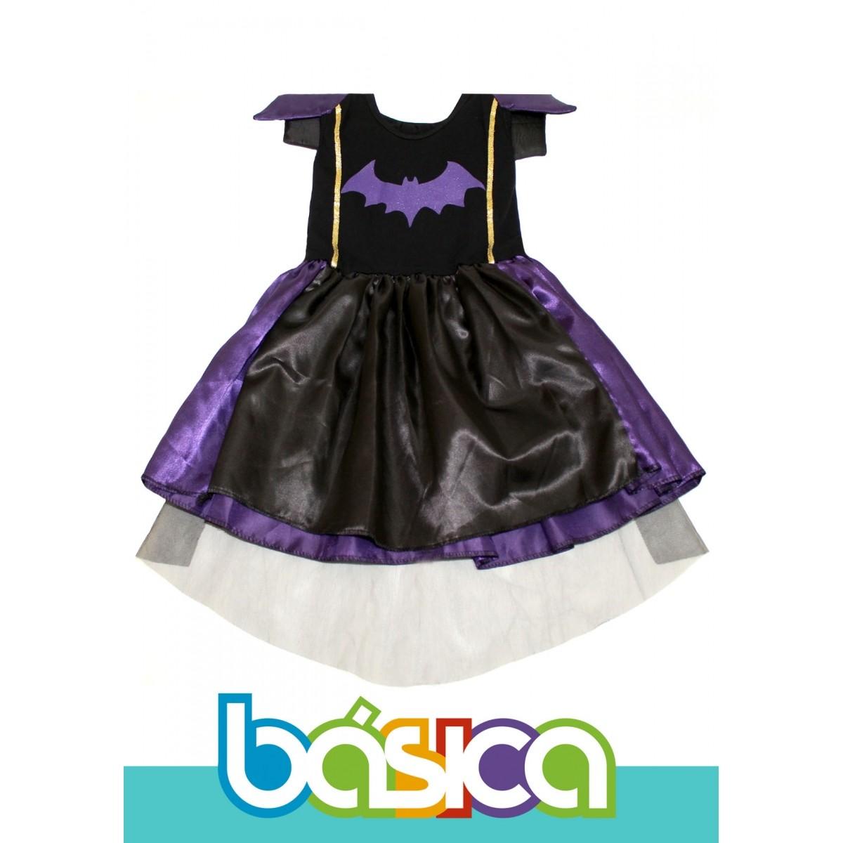 Fantasia de Bruxa Infantil Preto com Roxo  - BÁSICA UNIFORMES