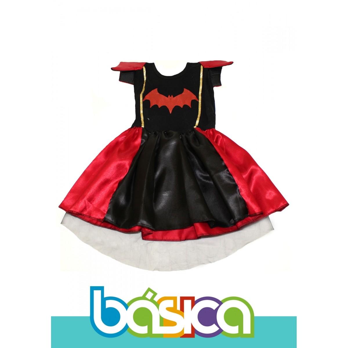 Fantasia de Bruxa Infantil Preto com Vermelho  - BÁSICA UNIFORMES