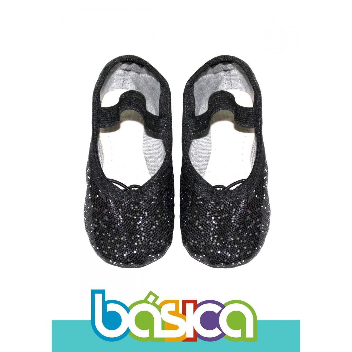 Sapatilha Para Ballet Preta Brilho  - BÁSICA UNIFORMES