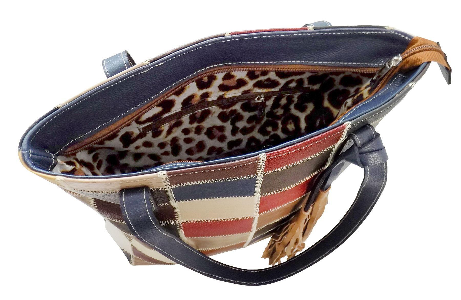 Bolsa Patchwork Prata Couro 1009185 Colorida