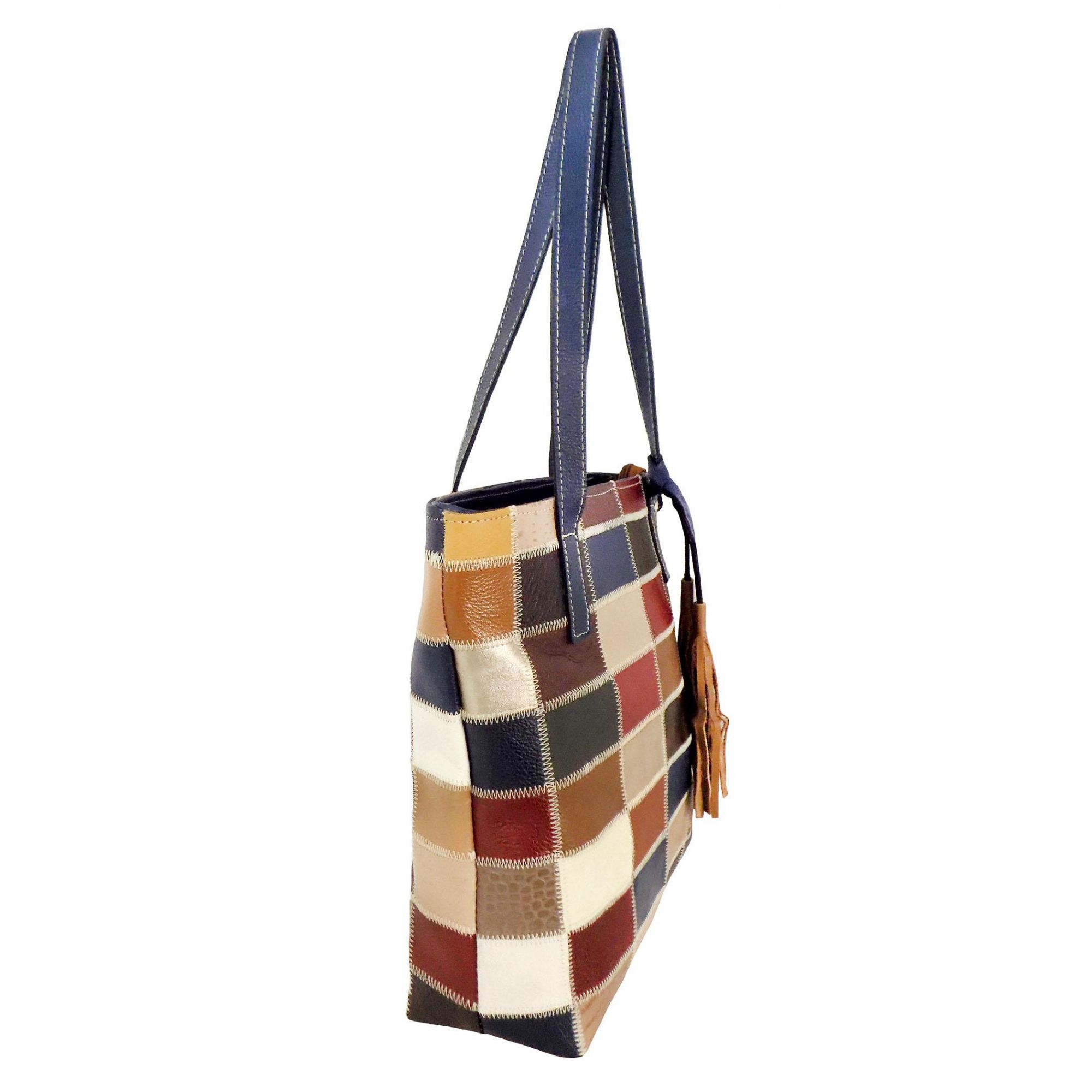 4f61870a6 Bolsa Patchwork Prata Couro 1009185 Colorida - Prata Couro moda em ...