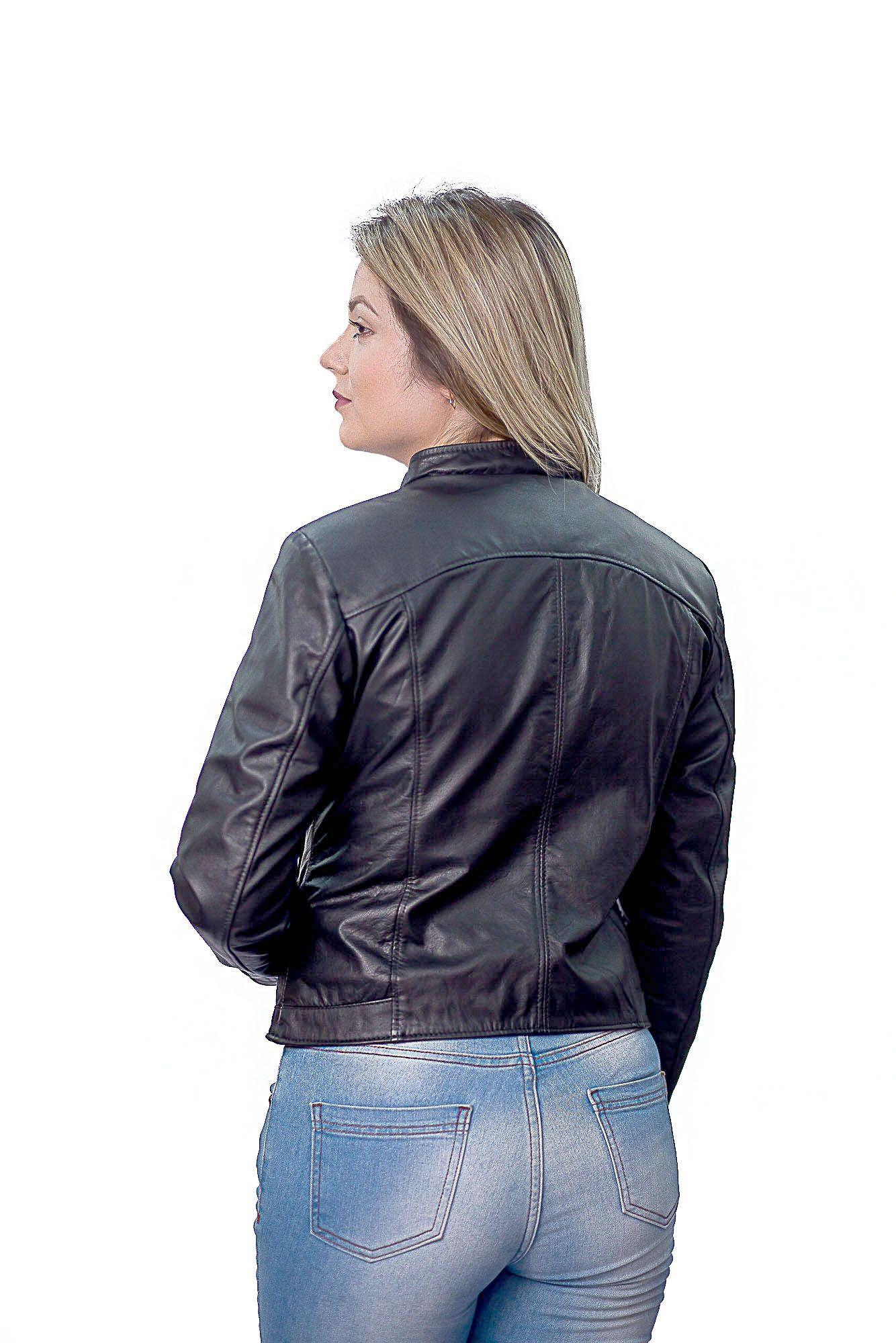Jaqueta Feminina 211 Prata Couro Vest Preto