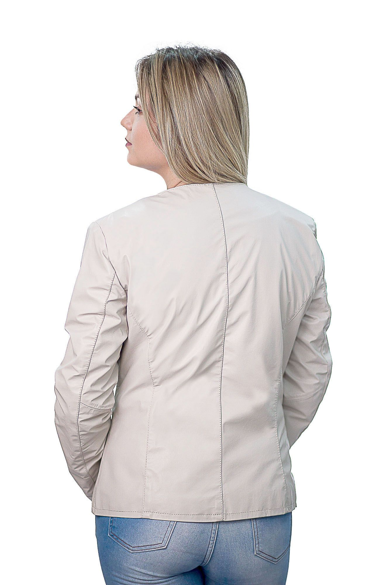 Jaqueta Feminina Prata Couro 210 Marfim