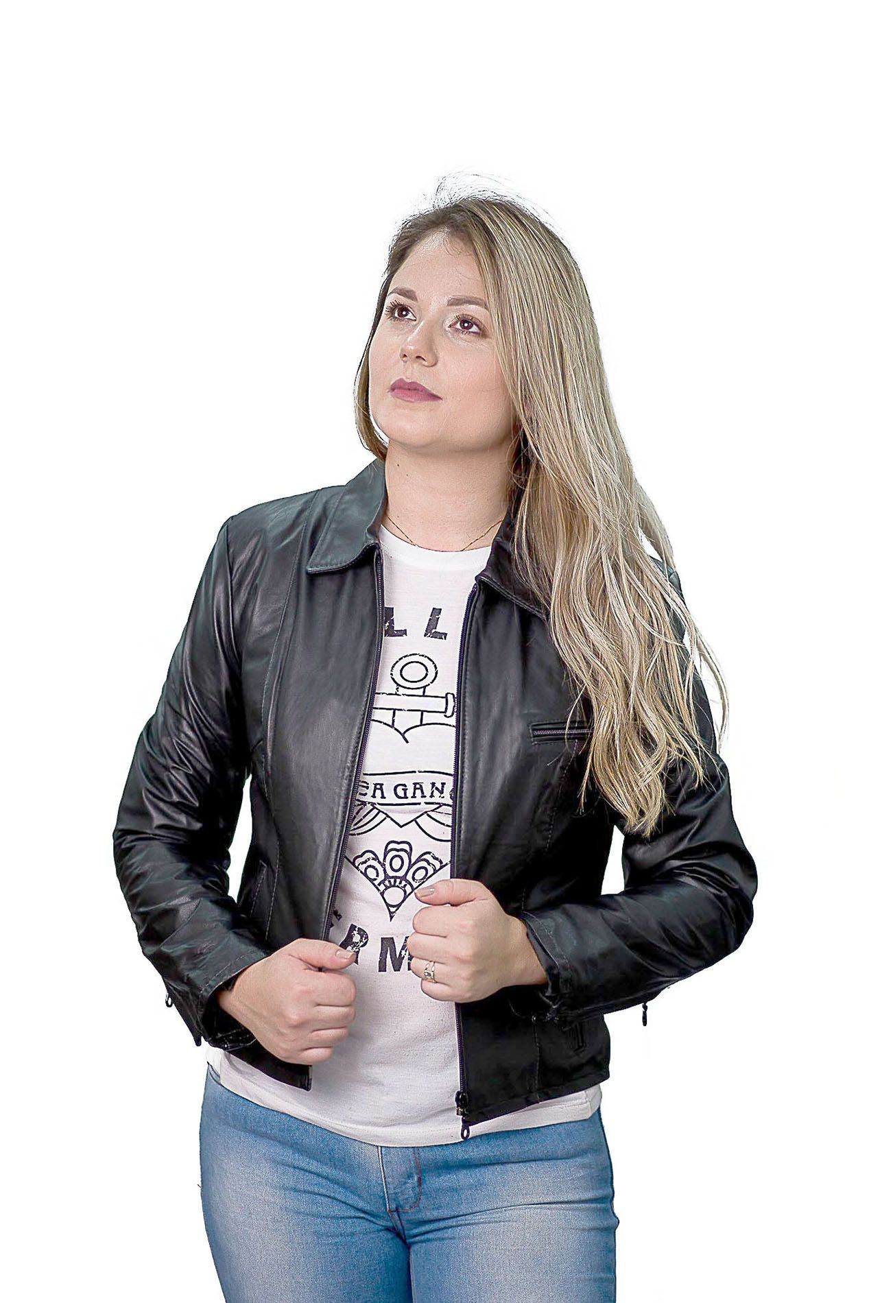 Jaqueta Feminina em Couro 9020 Vest Preto