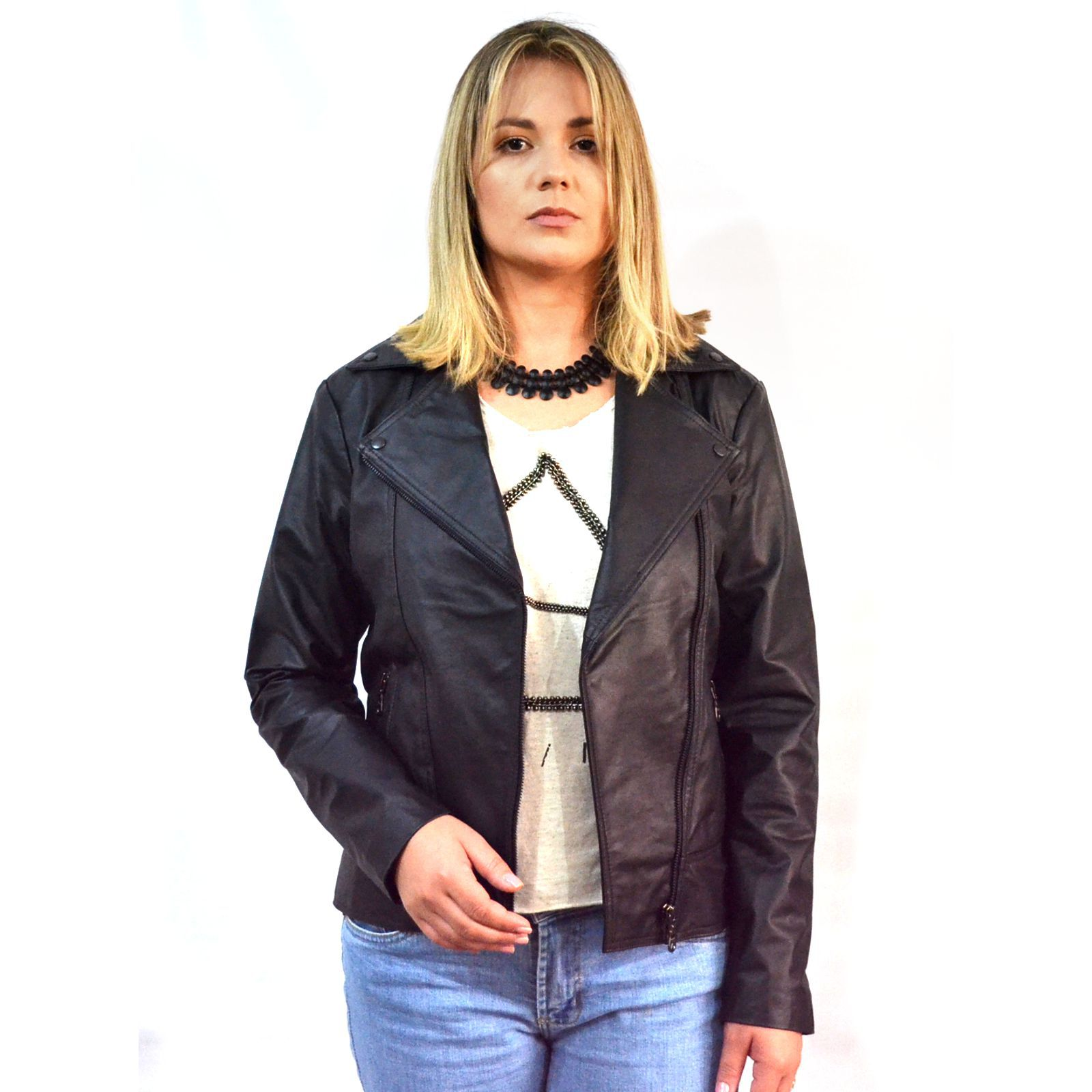 Jaqueta Feminina Prata Couro 201 Preto