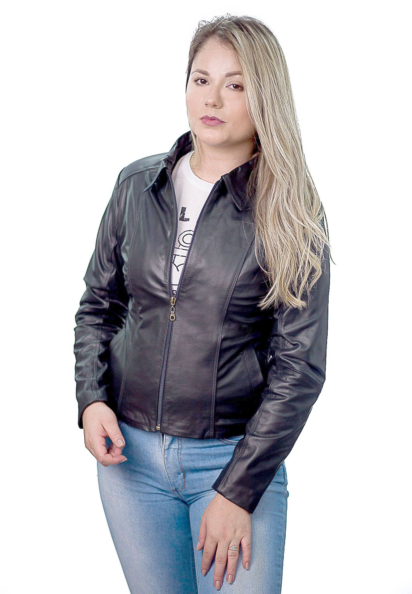Jaqueta Feminina Prata Couro 101 Preta