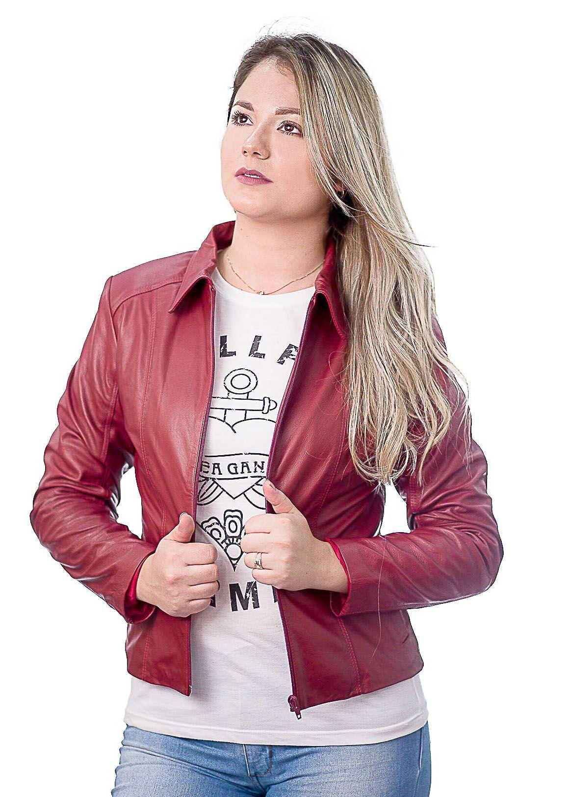 Jaqueta Feminina Prata Couro 101 Vermelha