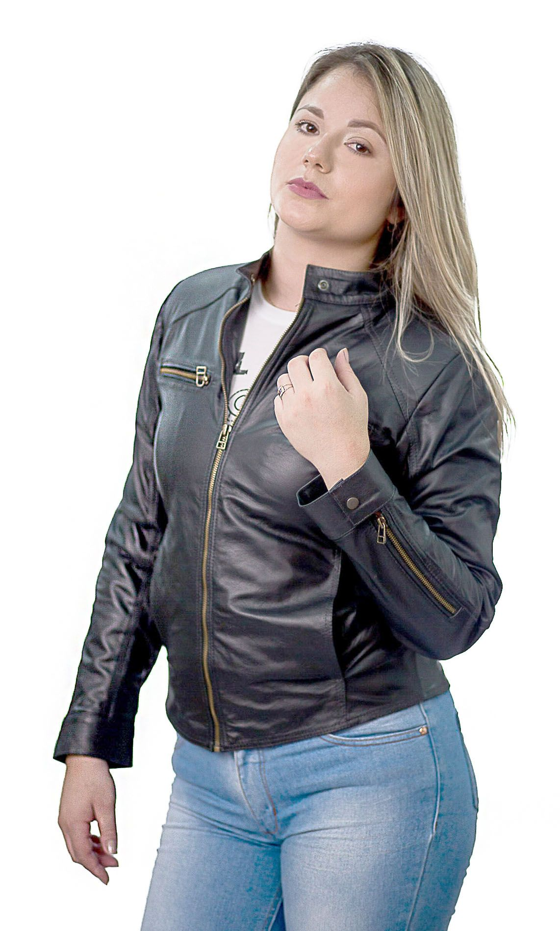 Jaqueta Feminina Prata Couro 107 Preta