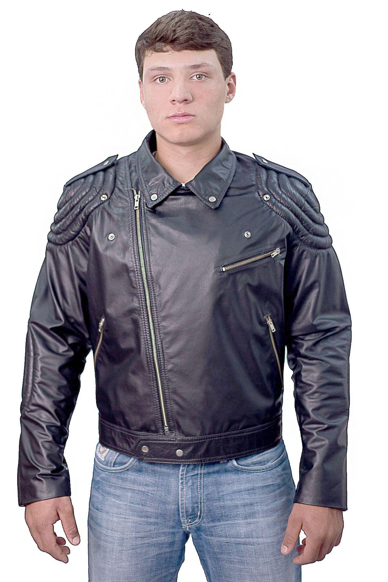 Jaqueta Motociclista Prata Couro 05 em Couro Bovino