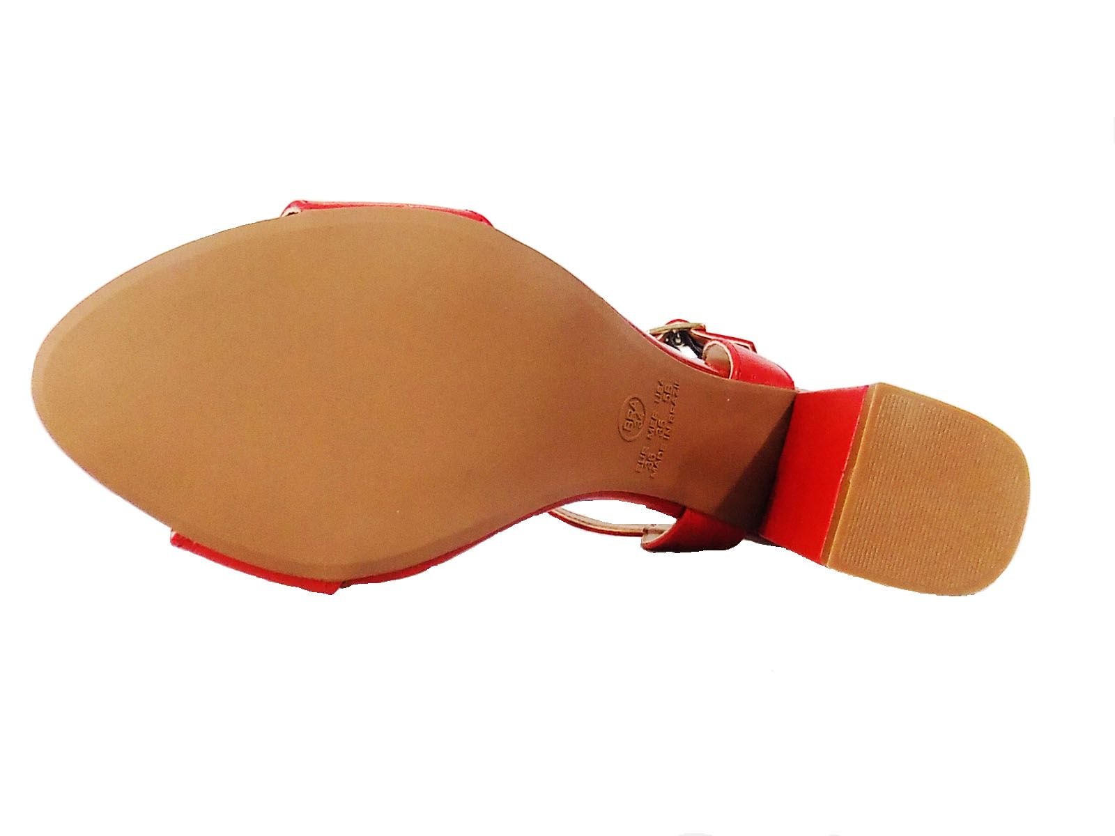 Sandalia Prata Couro 1009410 Vermelha