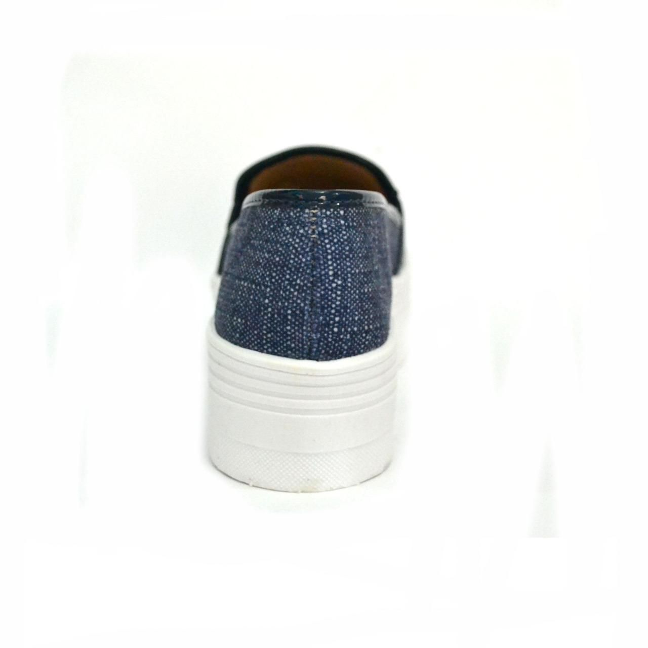 Sapatenis Iate Prata Couro 1009393  Azul com Brilho