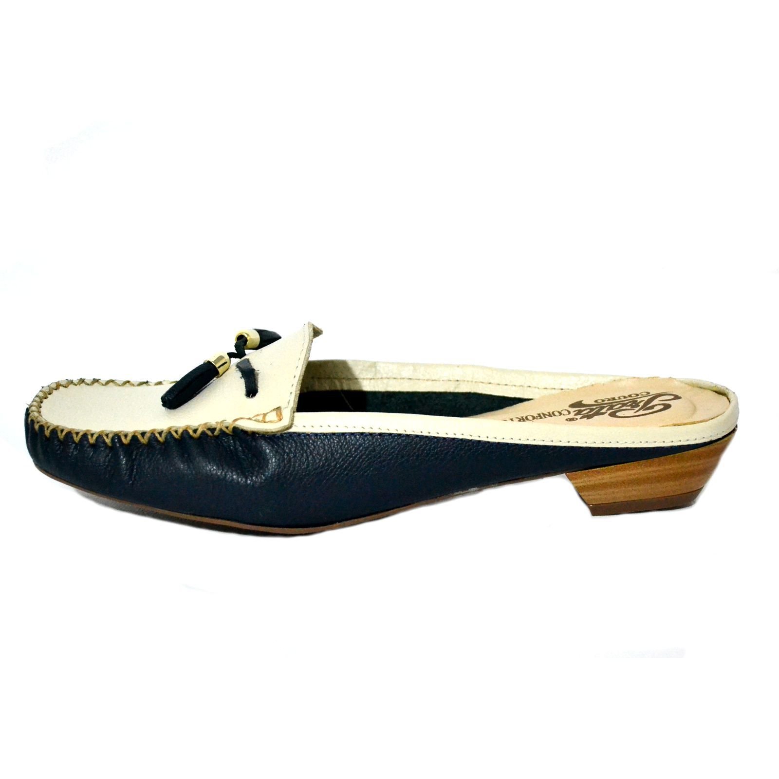 Sapatilha Mule Prata Couro Confort 1009624 Marinho/Marfim