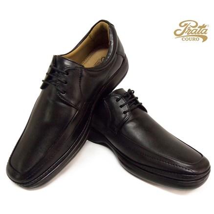Sapato com Amarra Prata Couro em Pelica Preto
