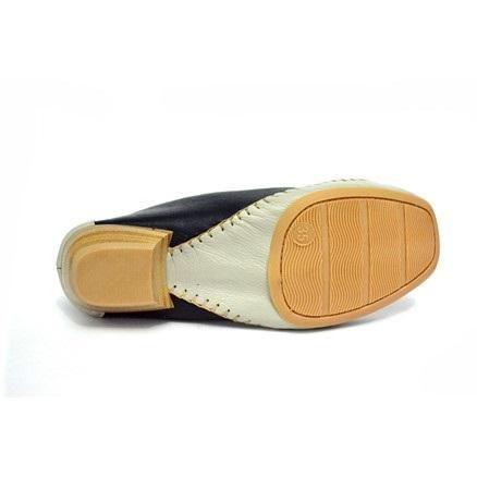 Sapato Conforto Prata Couro Marinho