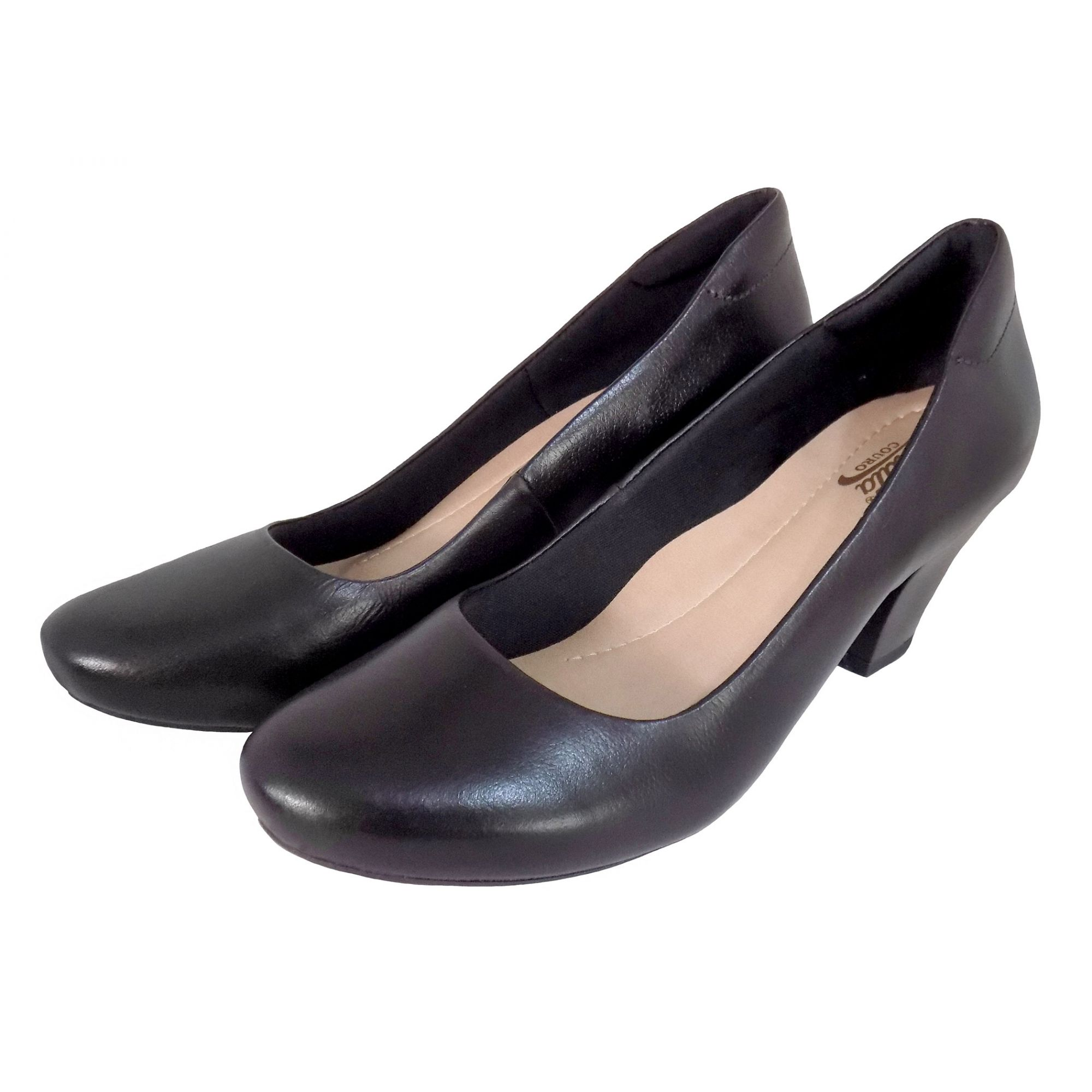Sapato Feminino Prata Couro 7357 Preto