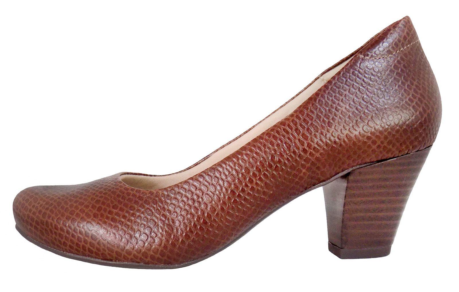 Sapato Feminino Prata Couro Snake Pinhão