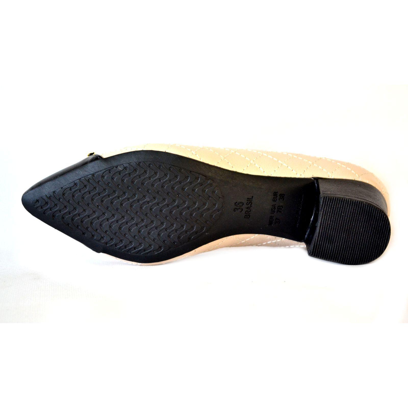 Sapato  Prata Couro 1009801 Nude /preto