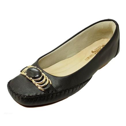 Sapato Prata Couro Conforto Preto