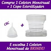 1 Coletor Menstrual CBC (Colo Baixo Curto) + 1 Copo Esterilizador + 1 Brinde