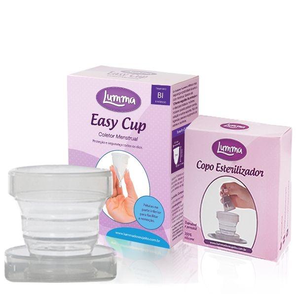 1 Coletor Menstrual BI (Colo Alto - Fluxo Intenso) + 1 Copo Esterilizador + 1 Brinde