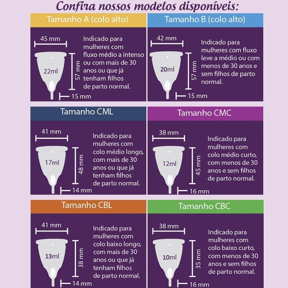 1 Coletor Menstrual CML (Colo Médio Longo) + 1 Copo Esterilizador + 1 Brinde