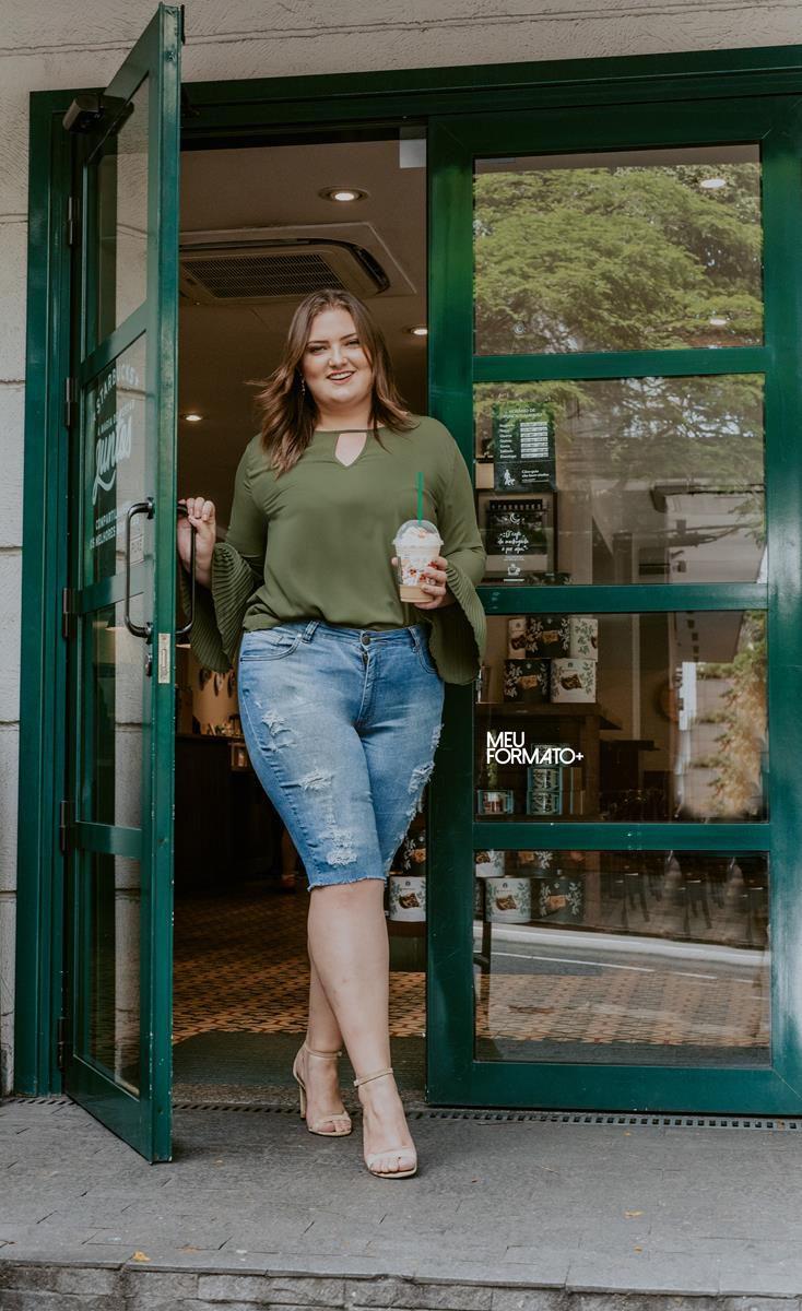 bermuda plus size jeans destroyed