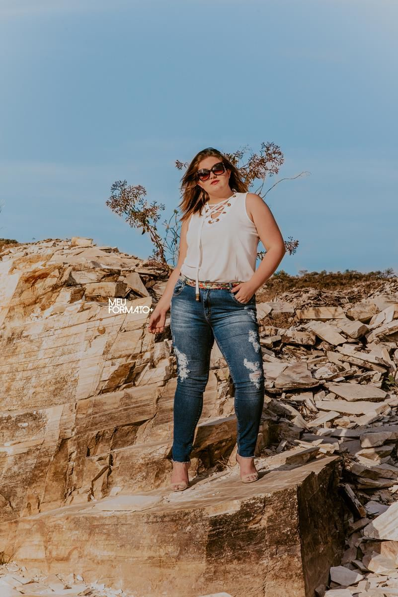 Calça Plus Size jeans Adriana