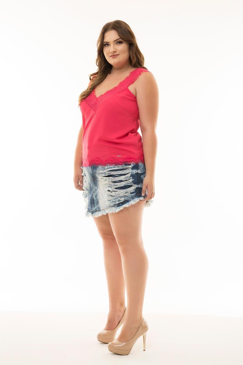 Regata Plus Size pink renda