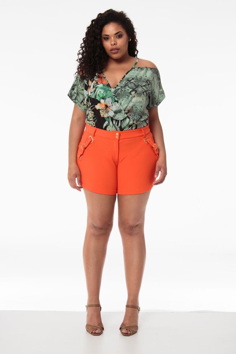 Shorts Plus Size Laranja