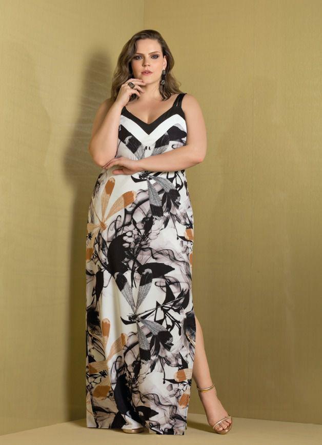 vestido longo plus size estampado