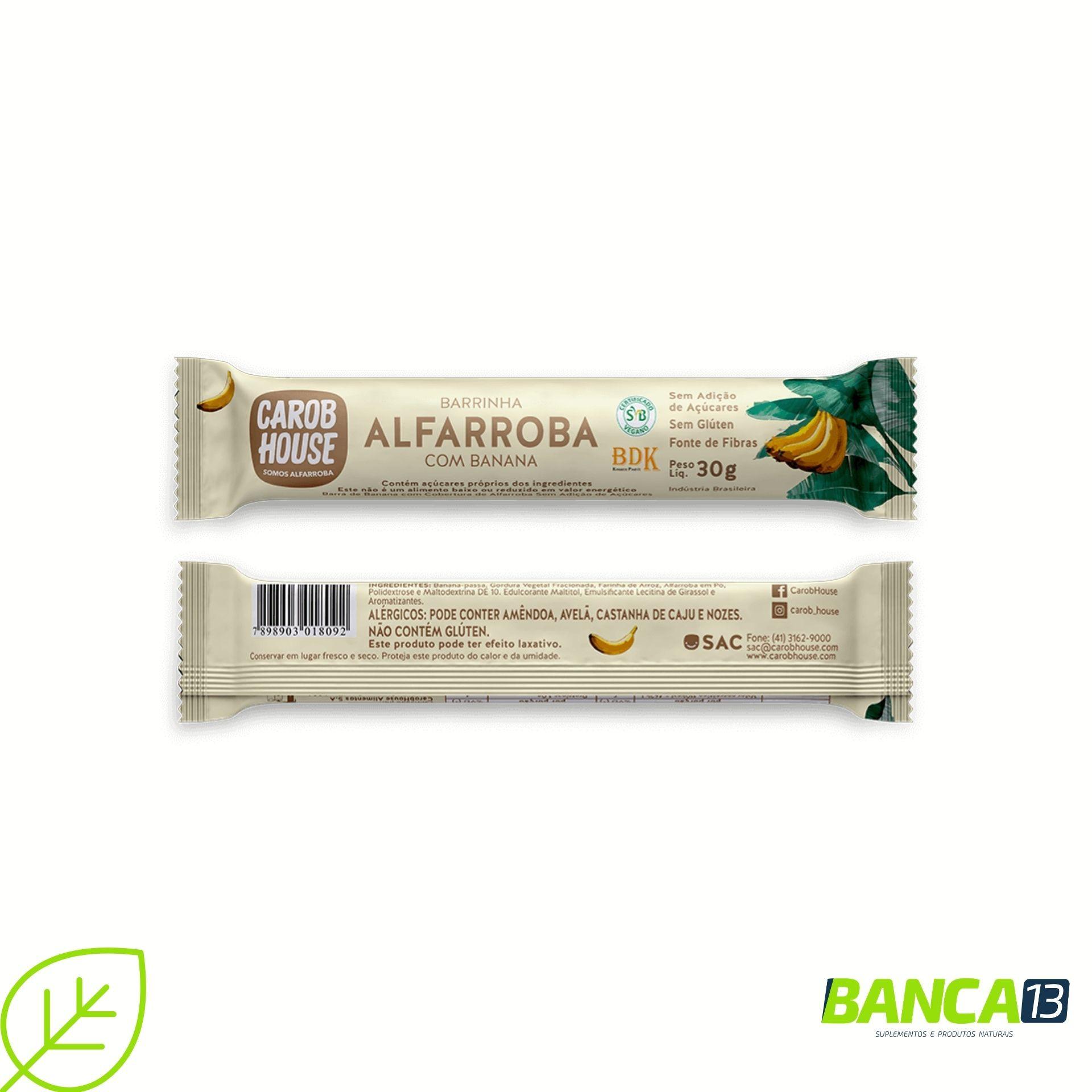 BARRINHA DE ALFARROBA COM BANANA 30G - CAROB HOUSE