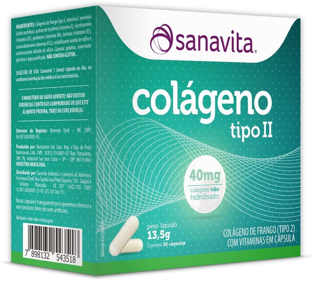 Colágeno Tipo II - 30 cápsulas - Sanavita