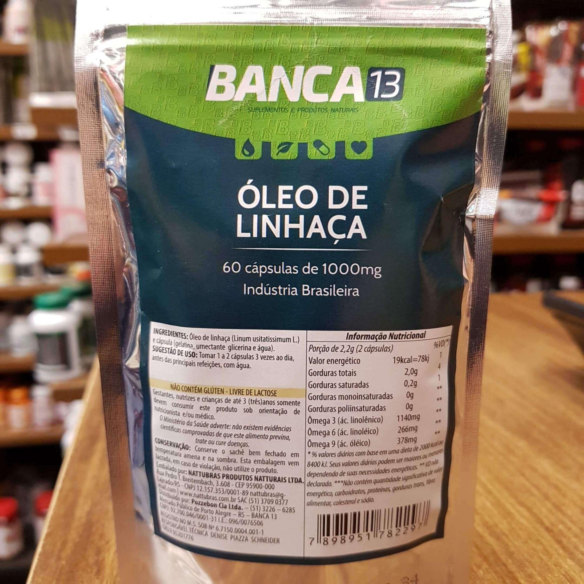 Óleo de Linhaça 60 cápsulas de 1000mg - Banca 13