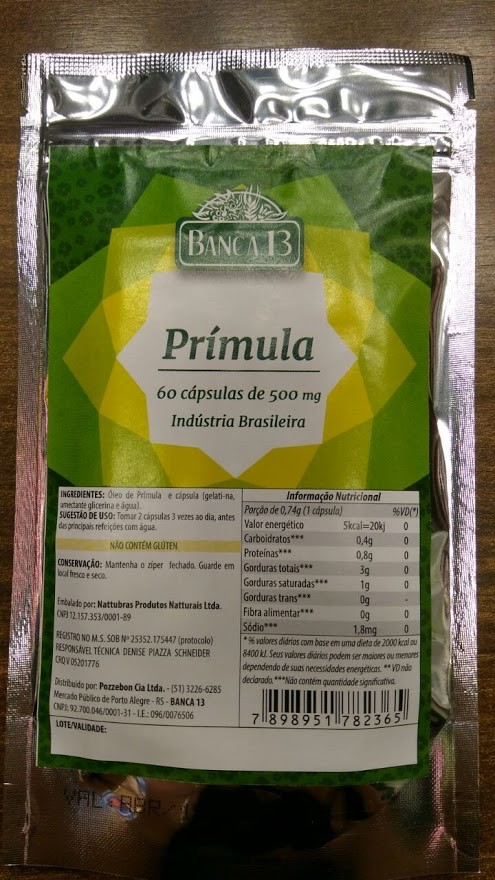 Óleo de Prímula - 60 cápsulas de 500mg - Banca 13