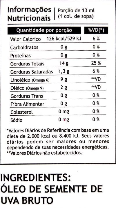 Óleo de Semente de Uva 250ml - Pazze