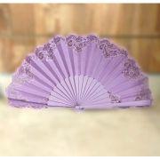 ABANICO PERICÓN 32cm leque flamenco grande lilás com renda
