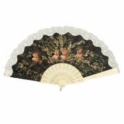 ABANICO SEMI PERICÓN 27cm leque flamenco grande floral marfim