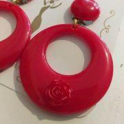 BRINCO flamenco espanhol argola várias cores flor