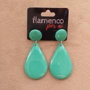 BRINCO flamenco meia gota resina verde água 4 x 2,5cm