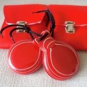CASTANHOLA PROFISSIONAL vidrio vermelho veteado branco caixa dupla Del Sur flamenco