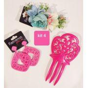 KIT 04  pink peineta flor brinco flamenco