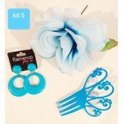 KIT 05 azul peineta plástico 12x9cm brinco argola flamenco flor