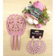 KIT 10 rosa chá flamenco peineta flor brinco